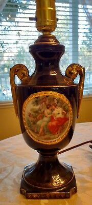 French Cobalt Blue Table Lamp With Victorian Romantic Scene