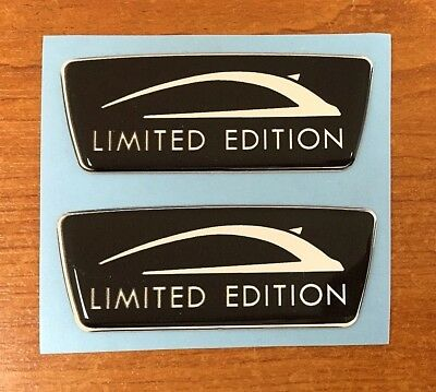 LIMITED EDITION 2 x Black Wing Stickers HIGH GLOSS DOMED GEL FINISH - Corsa