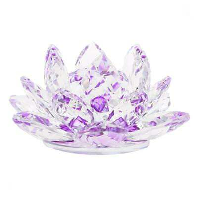 Large Crystal Lotus Flower with Gift Box 4 Inch Feng Shui Home Decor Purple