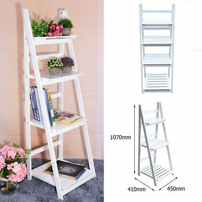 Vintage Wooden Wall Rack Leaning Ladder Shelf Unit Bookcase Stand Display RA