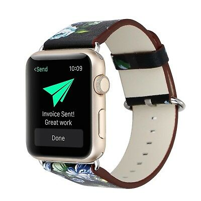 (42mm, 42mm-2) - KOBWA Apple Watch Band, Premium Leather Strap Wrist Band