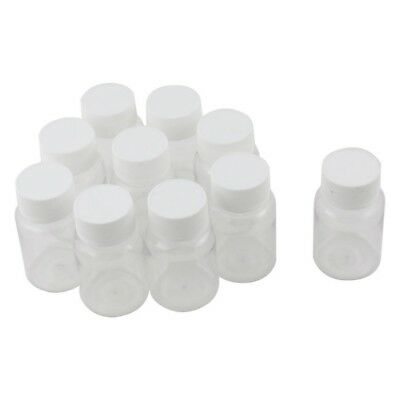 10Pcs 80ml Clear Plastic Cylindrical Chemical Container Reagent Bottle Z4P3