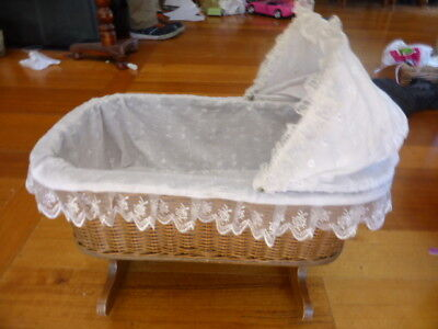 Reduced  Vintage Dolls Cane & Wooden Rocking Cradle With Lace Inlay.
