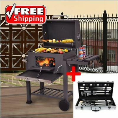 AMAZING Set Grill Charcoal Kit BBQ Outdoor Portable With Tool Accessories Brush