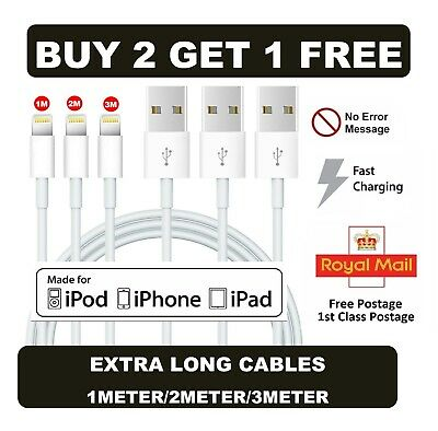Premium 1M 2M 3M Sync Charger Lightning USB Data Cable For iPhone X 8 7 6 5 iPad