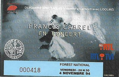 Ticket concert Francis Cabrel (Forest National 4-11-1994)