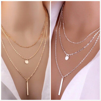 Choker Gold Silver Multi-layer Long Drop 3 Row Choker Layer Necklace - UK SELLER