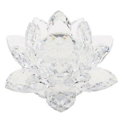 Crystal Lotus Flower Ornament Paperweight Lotus Figurine Wedding Gift Clear
