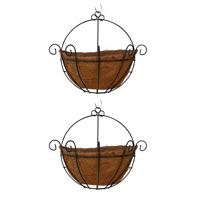 2 Pieces Traditional Brown Coconut Hanging Basket with Metal Hanger 14inch