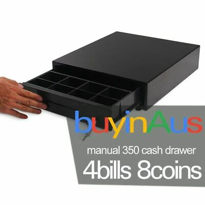 Manual POS 350T Black Heavy Duty Cash Drawer Tray Touch Push Open