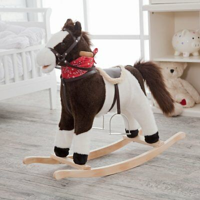 Charm Company Tango Plush Ride On Pinto Rocking Horse w/Moving Mouth and Tail