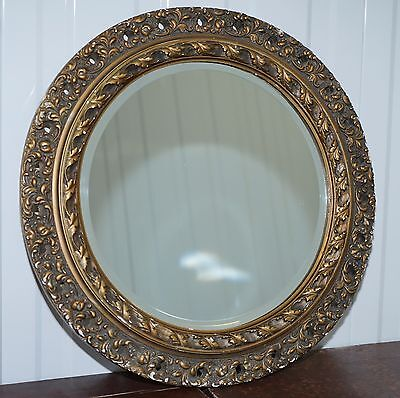 Rare Antique Round Hand Carved Wood Mirror With Cast Surrounding And Gold Leaf