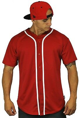 (Large, Red) - Baseball Jersey T-Shirts Plain Button Down Sports Tee. YoungLA