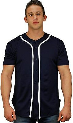 (Small, Navy) - Baseball Jersey T-Shirts Plain Button Down Sports Tee. YoungLA