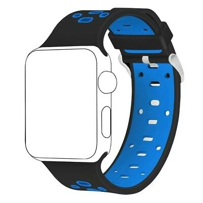 (42MM, Black/Blue) - Band for Apple Watch 42mm ,Langte Soft Silicone Apple