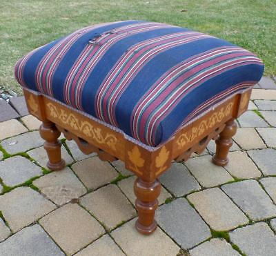 Antique Unique Wood Frame Hand Cutout Inlay Design Large Foot Stool Ottoman OOAK