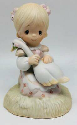 God Is Love Precious Moments E-5213 1980 With Box Girl With Goose in Lap