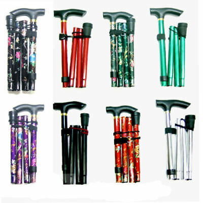 Folding Walking Stick Flower Adjustable Light Weight Easy Fold Aluminium Sticks