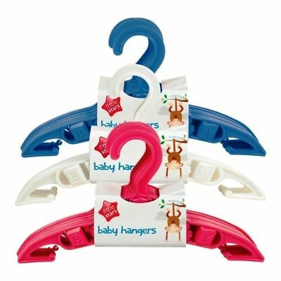 30 Baby Toddler Clothes Coat Hangers White Pink Blue Nursery Wardrobe Space Save