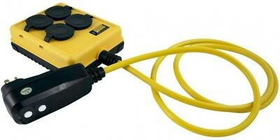 Yellow Jacket 6 ft. 14/3 SJTW Right Angle GFCI Plug and 4 Outlet Quad Box