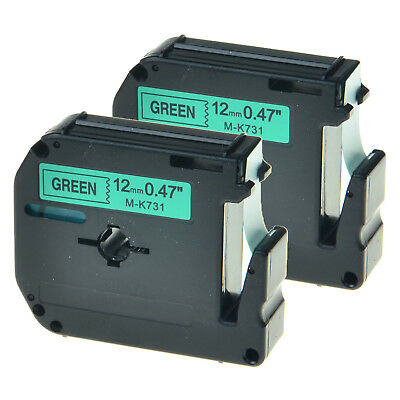 2PK MK731 M-K731 Black on Green Lable Tape for Brother P-touch PT-70SP 1/2 inch