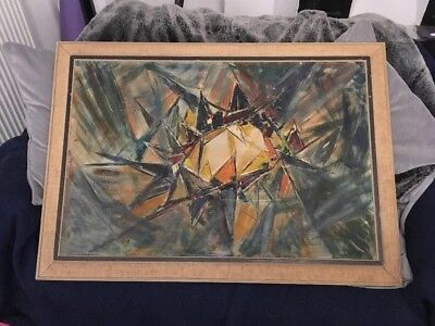 1950s Original Abstract Oil Large Painting Framed Signed Brutalist
