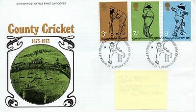 GB - FIRST DAY COVER - FDC - COMMEMS -1973- COUNTY CRICKET - Pmk PB