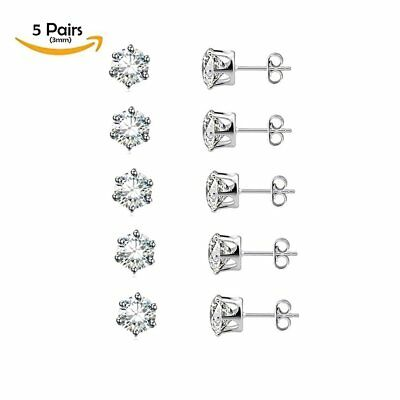 Stainless Steel Hypoallergenic CZ Earrings Studs 5 Pairs (3mm) Fashion Jewelry