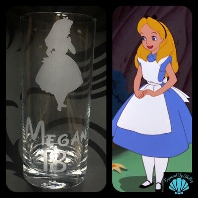 Personalised Disney Birthday Gift Alice In Wonderland Glass FREE Name Engraved