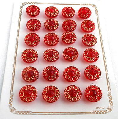 24 Czech Crystal Glass Buttons on Card #G590 - UNIQUE!!!!!!!!!!!!!!!