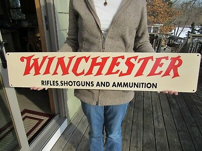 Vintage Style Metal Winchester Rifles Shotguns And Ammunition Advertising Sign