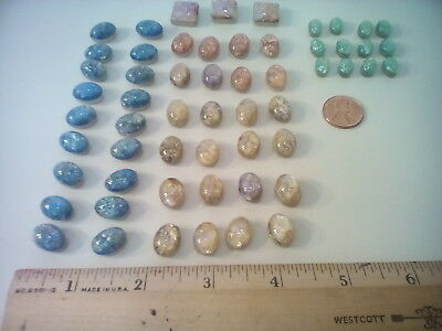 Antique Czech Opalescent Foil Glass Beads, 57 Beads, Assorted Colors
