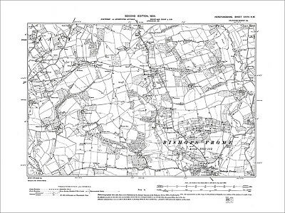 Stoke Lacy, Bishops Frome, Old Map Herefordshire, 1905: 28NW
