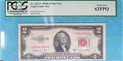1953-B $2 Star 63-PPQ  Note Fr#1511* Two Dollar 03563580