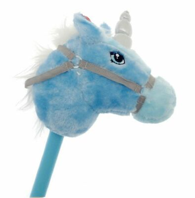 Blue Kids Play Galloping Hobby Horse Unicorn Soft Pony Toy Sparkle real Sound