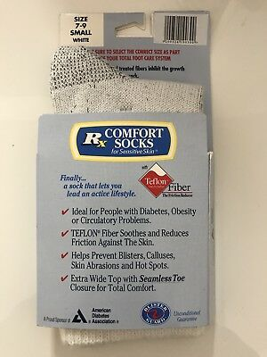 Rx Comfort Sock for Sensitive Skin, Diabetes Circulatory NEW Teflon Fiber SMALL