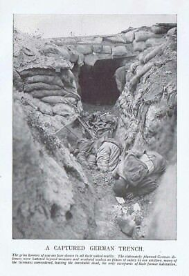 WW1 A Captured German Trench - Vintage Print 1918