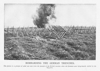 WW1 Bombarding the German Trenches - Vintage Print 1918