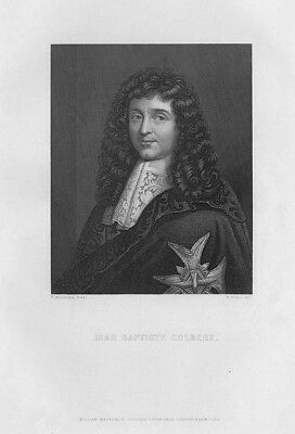 JEAN BAPTISTE COLBERT French Politician - Antique Print c1870