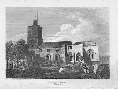 LONDON View at Stepney Church, Middlesex - Antique Print 1815