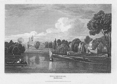 LONDON View at Twickenham, Middlesex - Antique Print 1814