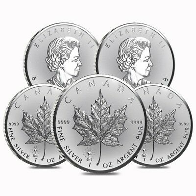 Lot of 5 - 2018 1 oz Silver Canadian Maple Leaf Light Bulb Privy Reverse Proof