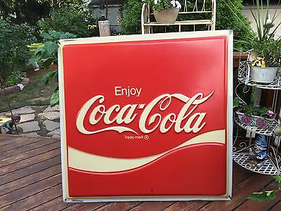 "Vintage 1981 large 46""x48"" Coca-cola Soda pop sign"