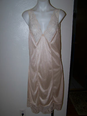 Vintage Miss Elaine Unbranded Beige Nylon Lace Sleeveless Nightgown S Sissy