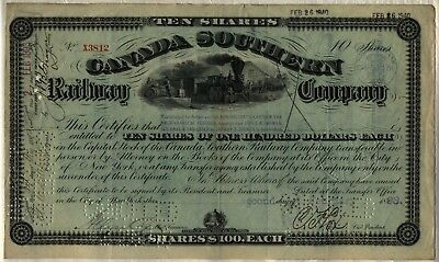 1893 Canada Southern Railway Company Stock Certificate Railroad 10 Shares