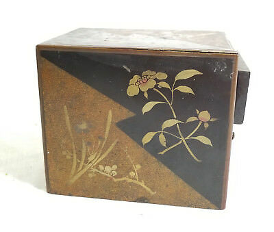 Antique Vintage Japanese Lacquer Gilt Decorated Kodansu Box Jewelry Box As Is