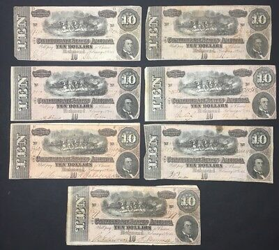 Lot Of 7 - 1864 Confederate States $10 Notes - Richmond