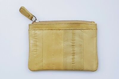 Dent Sale /Genuine Eel Skin Leather- Small Rectangle Coin & Card Purse / Beige 1
