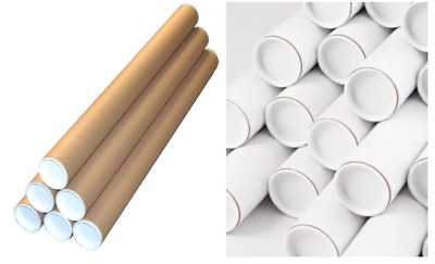 "TOP QUALITY STRONG CARDBOARD POSTAL TUBES + END CAPS - THREE SIZES- 2"" Width"