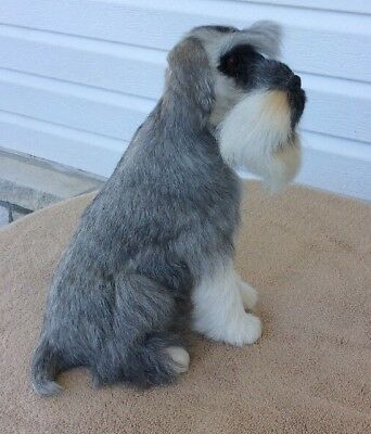 "Wildlife Treasures 11"" Sitting Grey & White Schnauzer Dog Real Fur Figurine"